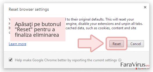 Apăsaţi pe butonul 'Reset' pentru a finaliza eliminarea
