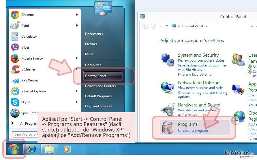 Apăsaţi pe 'Start -> Control Panel -> Programs and Features' (dacă sunteţi utilizator de 'Windows XP', apăsaţi pe 'Add/Remove Programs')