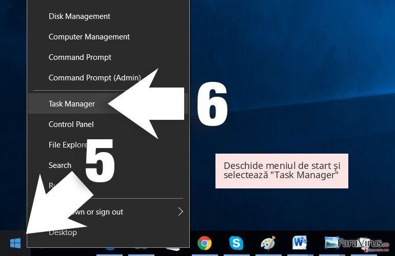 Deschide meniul de start şi selectează 'Task Manager'