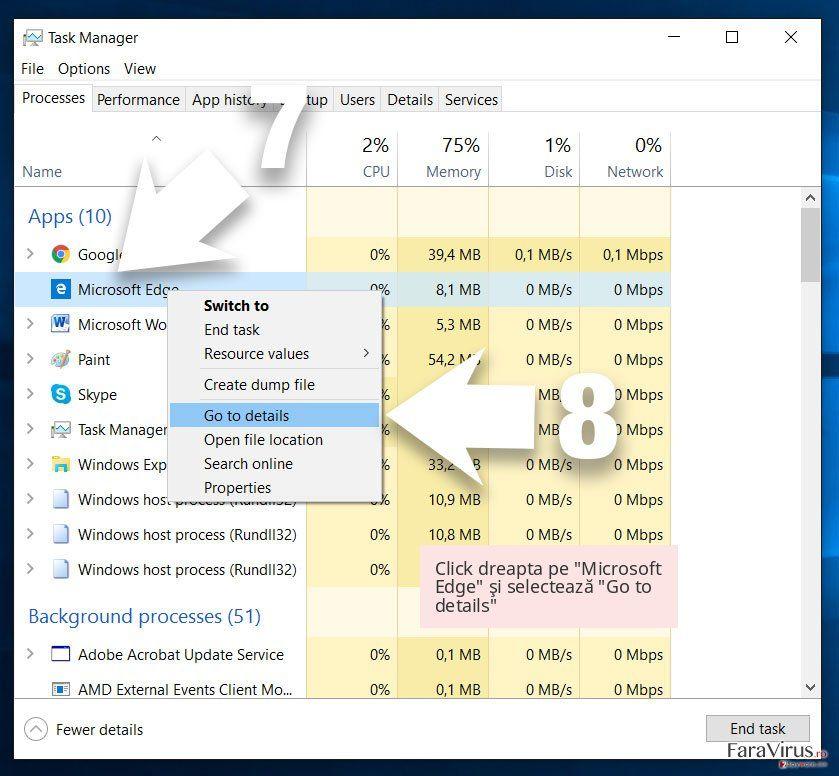 Click dreapta pe 'Microsoft Edge' şi selectează 'Go to details'