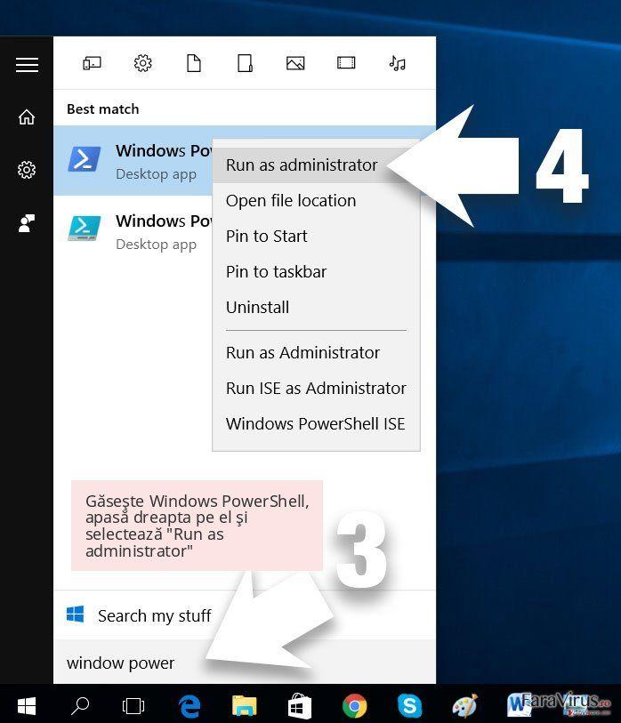 Găseşte Windows PowerShell, apasă dreapta pe el şi selectează 'Run as administrator'