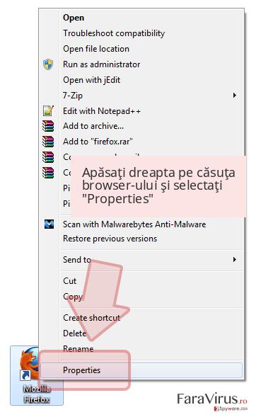 Apăsaţi dreapta pe căsuţa browser-ului şi selectaţi 'Properties'
