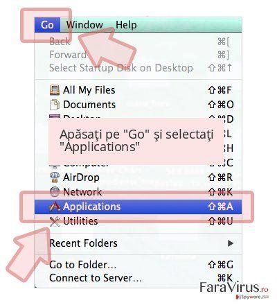 Apăsaţi pe 'Go' şi selectaţi 'Applications'