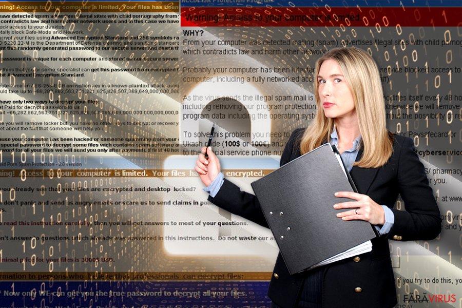 Virusul de tip ransomware ACCDFISA v2.0 captură de ecran