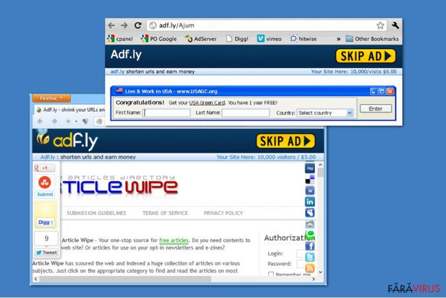 Virusul Adf.ly captură de ecran