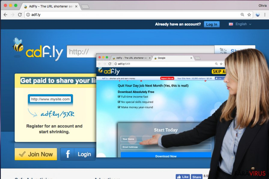 Website-ul Adf.ly şi exemplu al unei reclame Adf.ly ce cere informaţiile personale ale utilizatorului