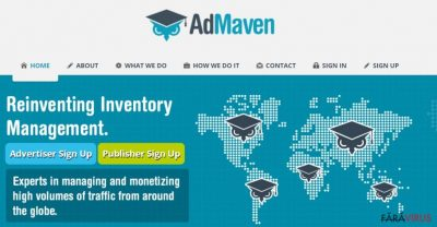 Captură de ecran a website-ului AdMaven