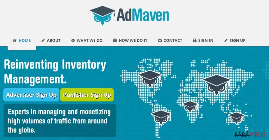 The example of AdMaven official website