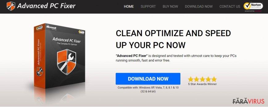 Captură de ecran a virusului Advanced PC Fixer