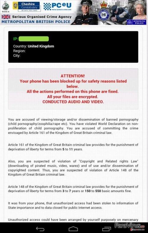 Virusul Android Police captură de ecran