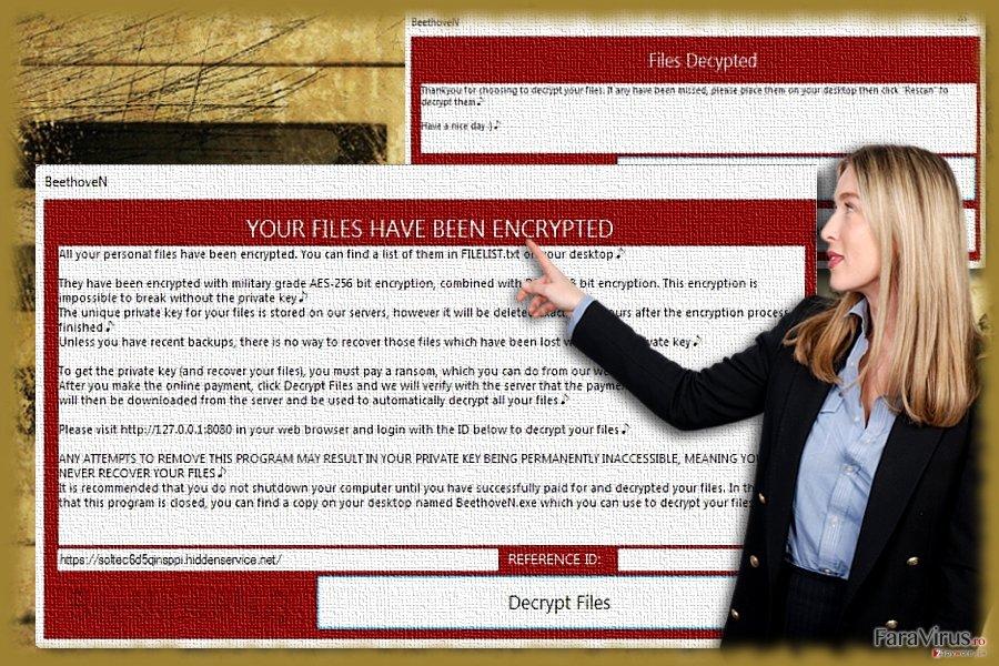 Imagine care ilustrează malware-ul BeethovenN
