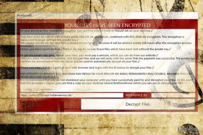 Captură de ecran a virusului BeethovenN