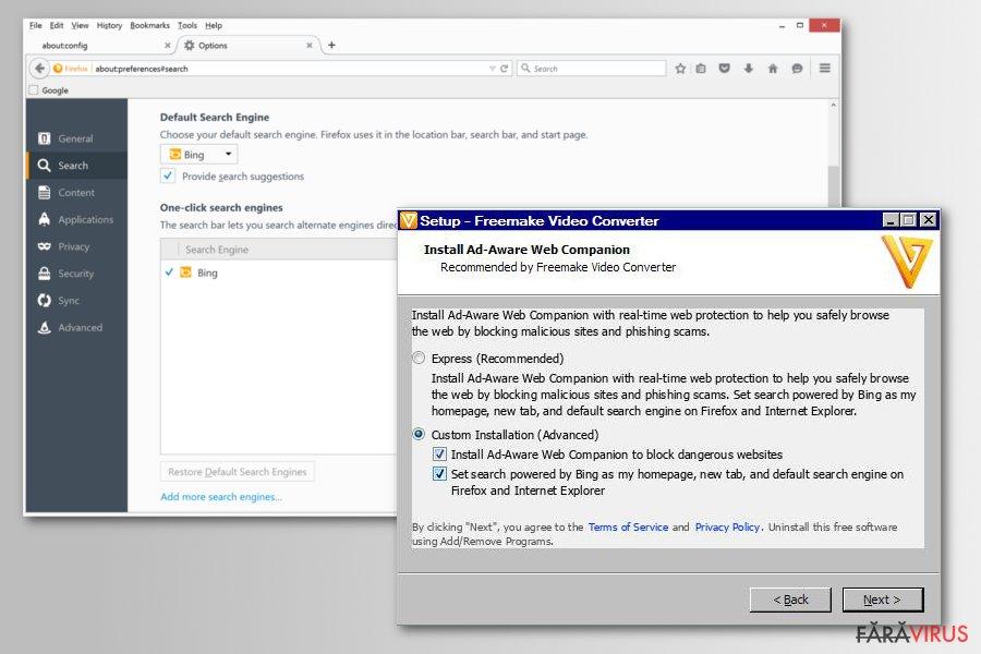 Distribuirea virusului de redirecţionare Bing