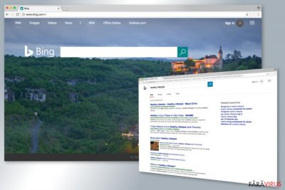 Exemplu al motorului de căutare Bing