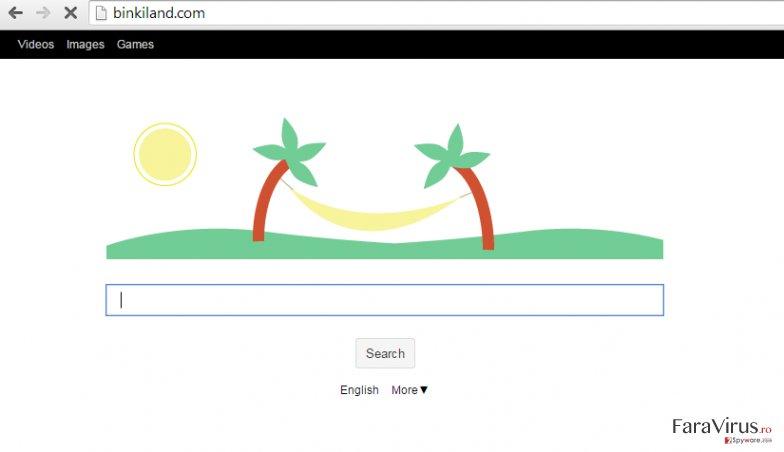 Virusul Binkiland.com captură de ecran