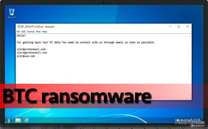 Ransomware-ul BTC pe un calculator compromis