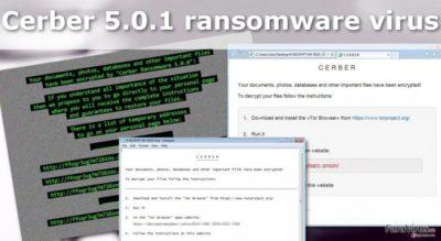 Ilustrarea virusului de tip ransomware Cerber 5.0.1