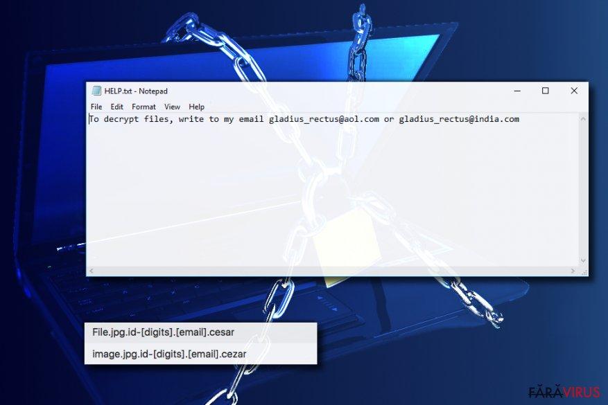 Virusul de tip ransomware Cezar