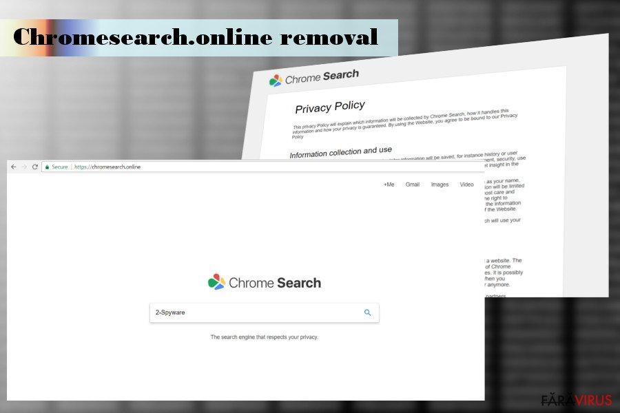 Ilustrarea hijackerului Chromesearch.online