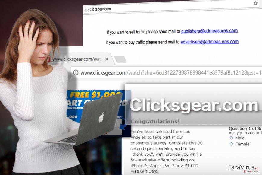 Ilustrarea virusului de tip adware Clicksgear.com