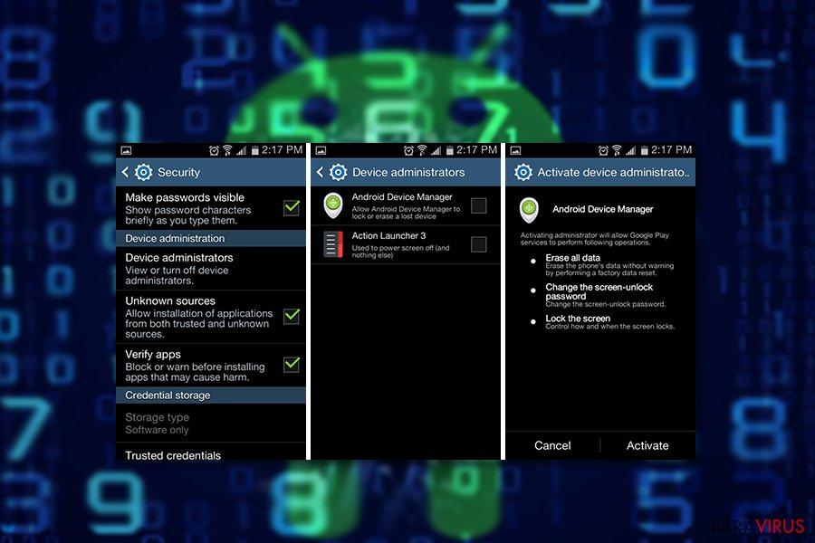 Exemplu al virusului Android, com.google.provision