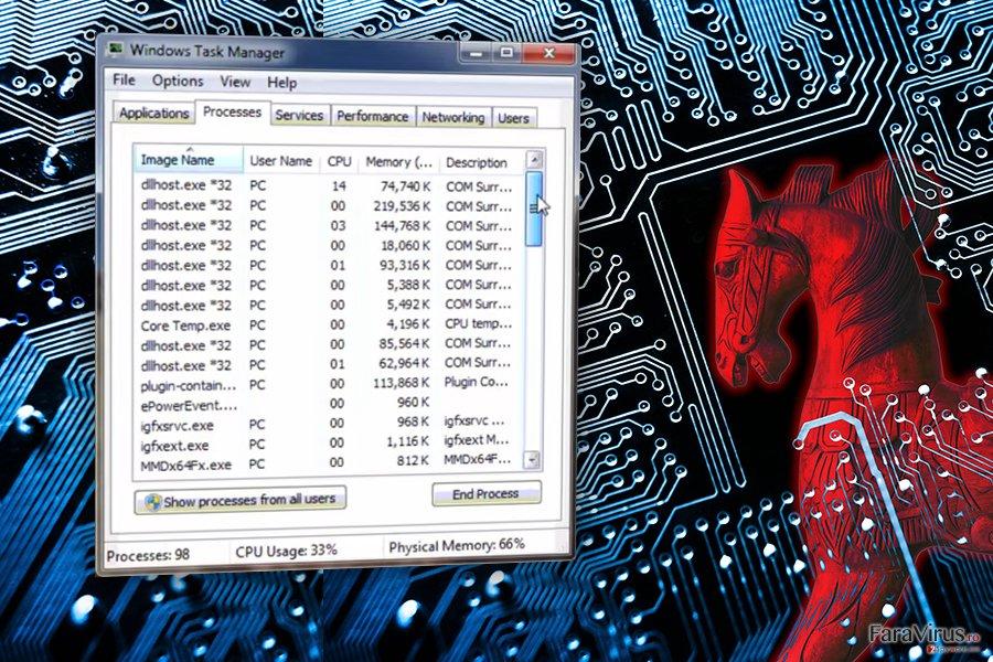 Virusul COM surrogate captură de ecran