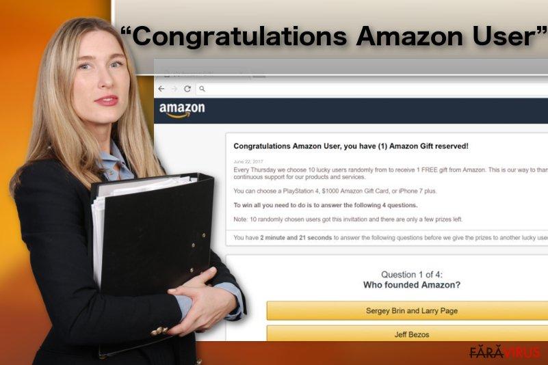 """Ilustrarea virusului adware """"Congratulations Amazon User"""""""