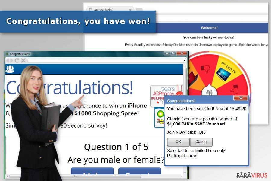 """Imaginea virusului """"Congratulations, you have won"""""""