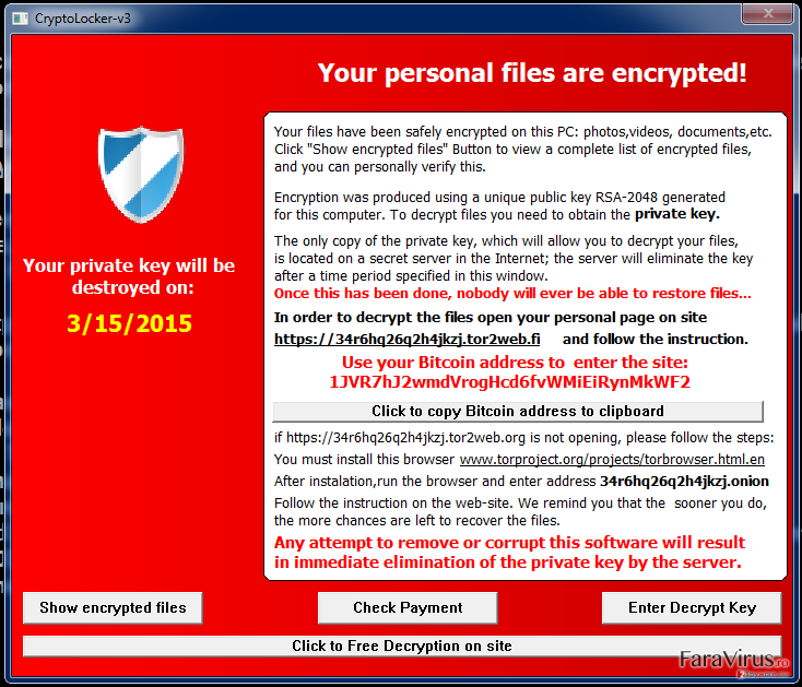 Virusul Cryptolocker-v3 captură de ecran