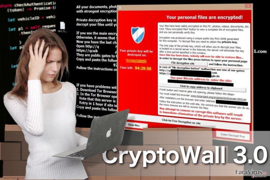 Virusul CryptoWall 3.0 captură de ecran