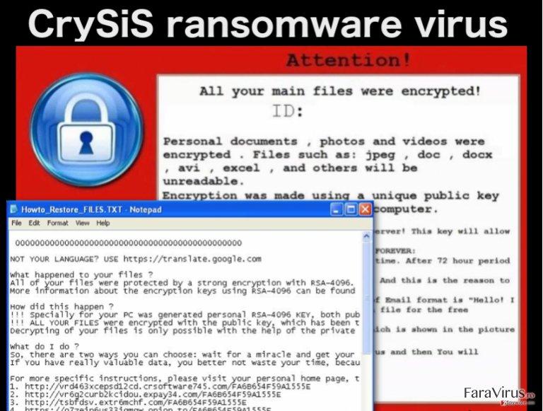 Virusul de tip ransomware CrySiS captură de ecran