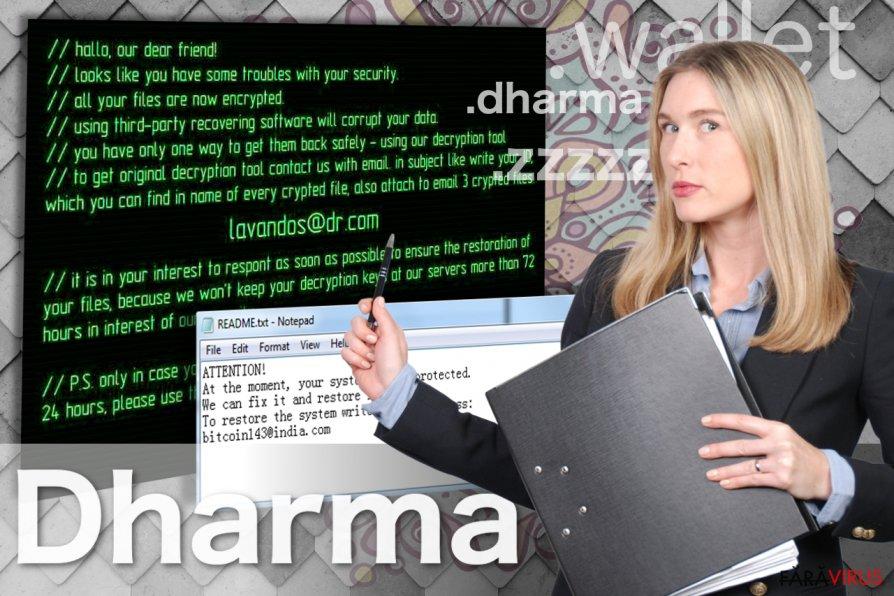 Virusul de tip ransomware Dharma captură de ecran