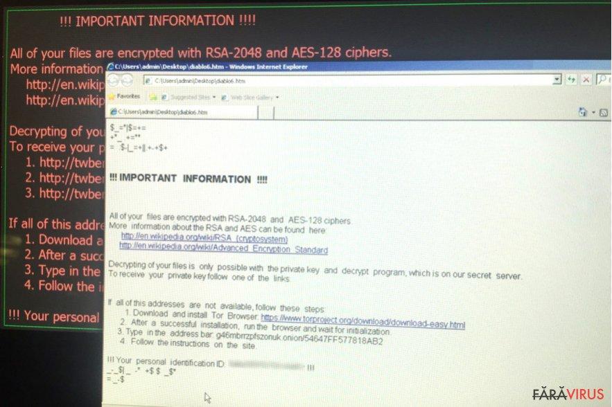 Virusul de tip ransomware Diablo6