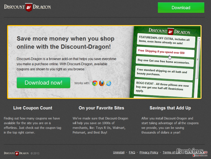 'Ads by Discount Dragon' virus captură de ecran