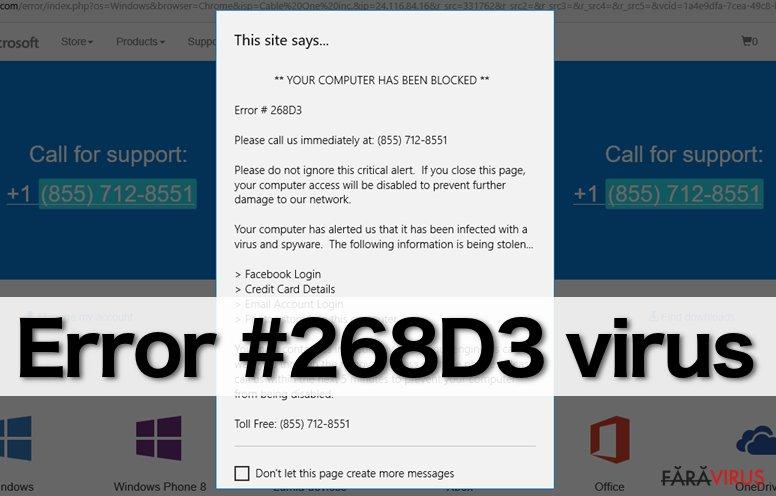 """Virusul """"Error #268D3"""" captură de ecran"""