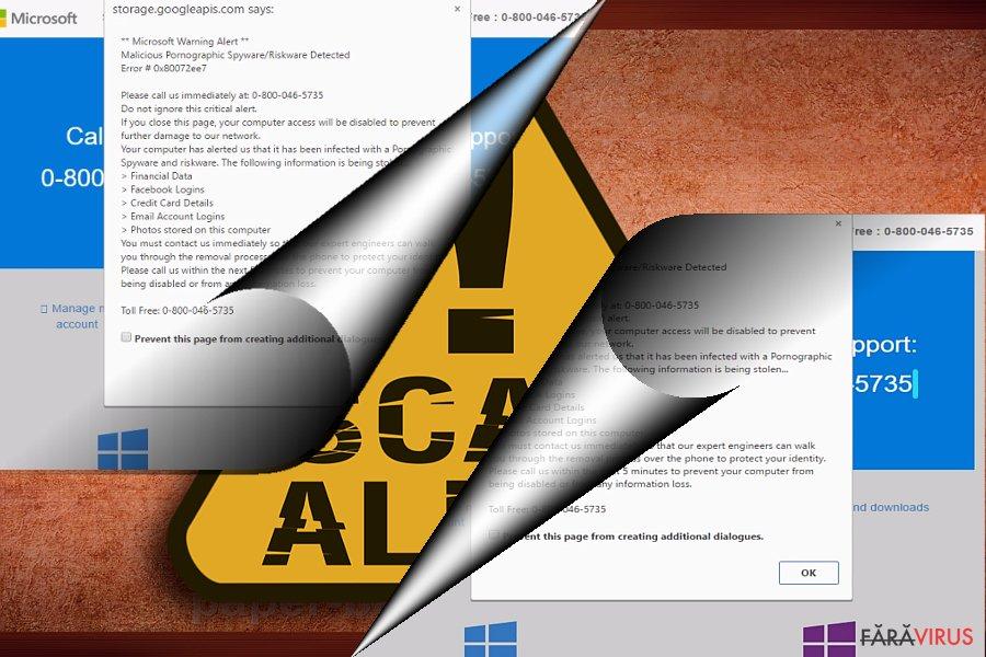 Captură de ecran cu escrocheria Error 0x80072ee7