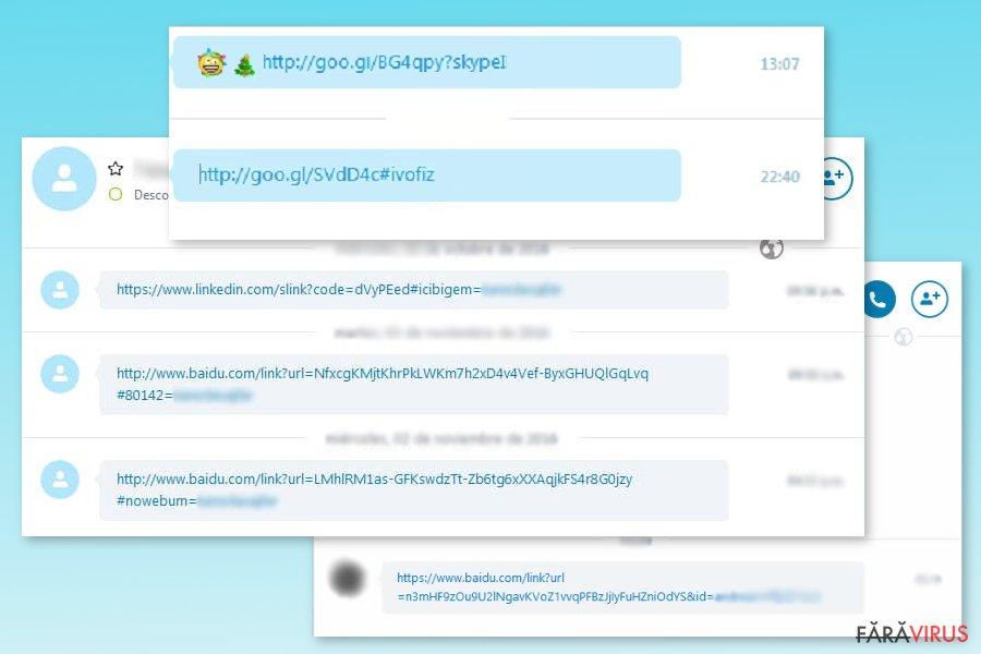 Examples of Skype virus