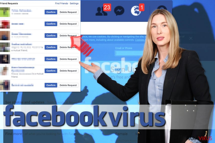 Virusul Facebook Friend Request captură de ecran