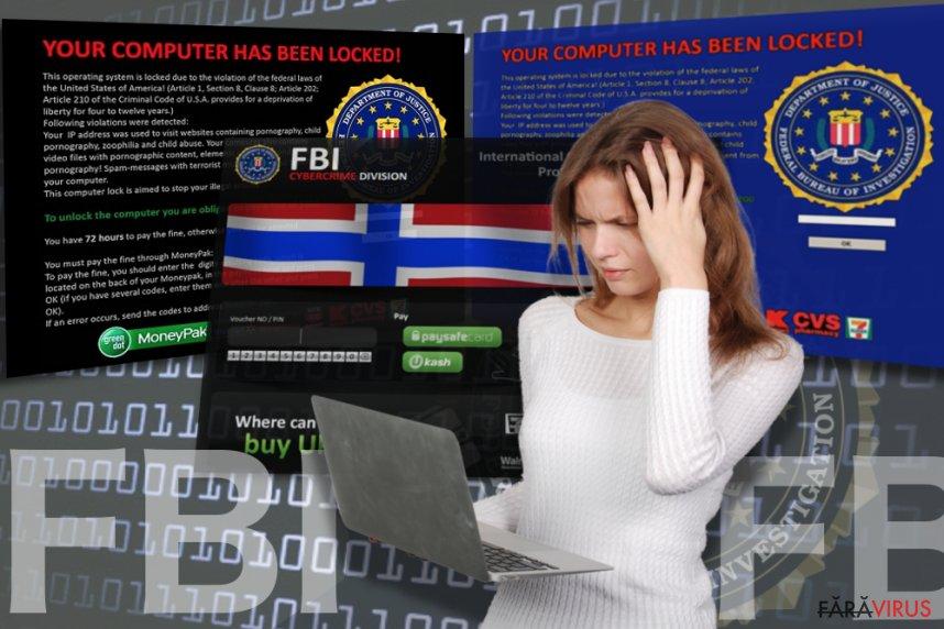 Virusul FBI captură de ecran