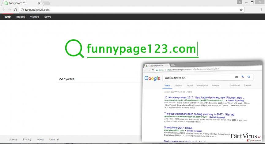 The Screenshot of Funnypage123.com virus