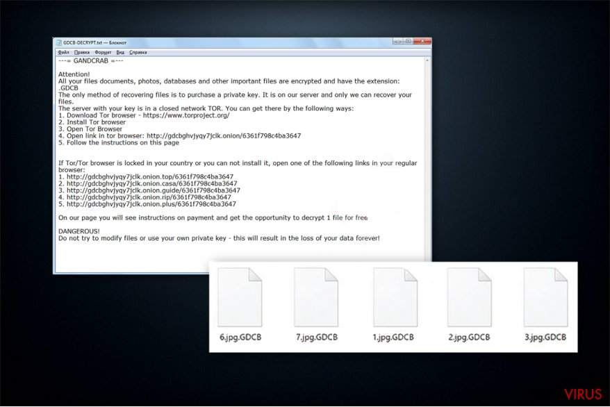 The ransom note of GandCrab ransomware
