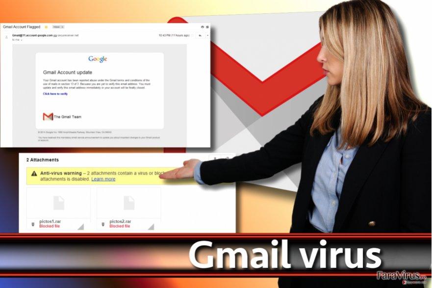 Captură de ecran a virusului Gmail