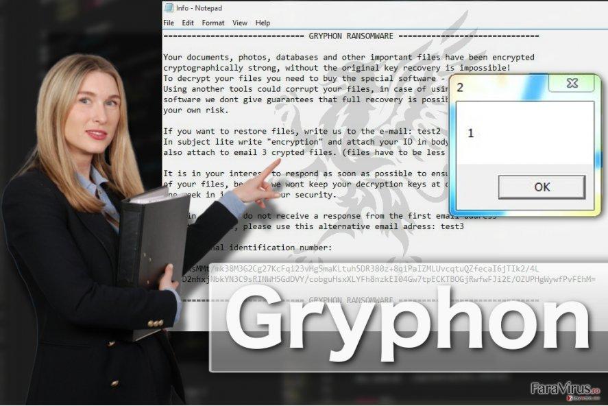 Ilustrarea virusului de tip ransomware Gryphon