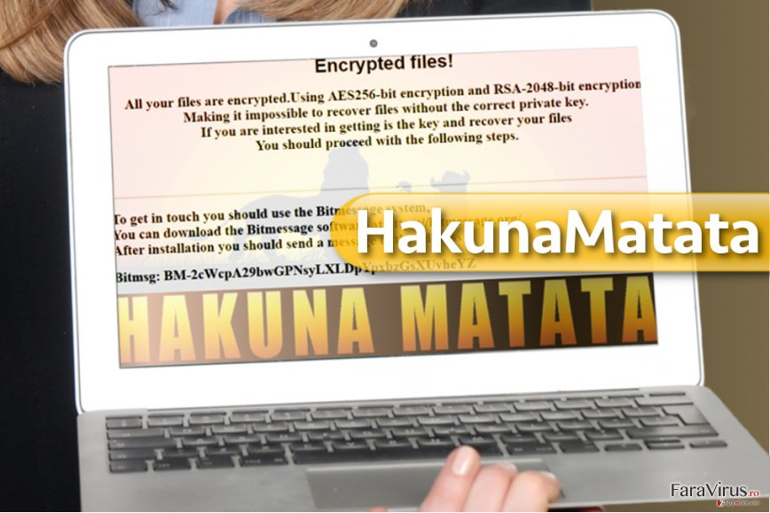 Virusul de tip ransomware HakunaMatata captură de ecran