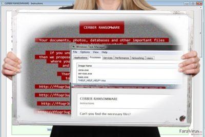 Captură de ecran a virusului Help_help_help