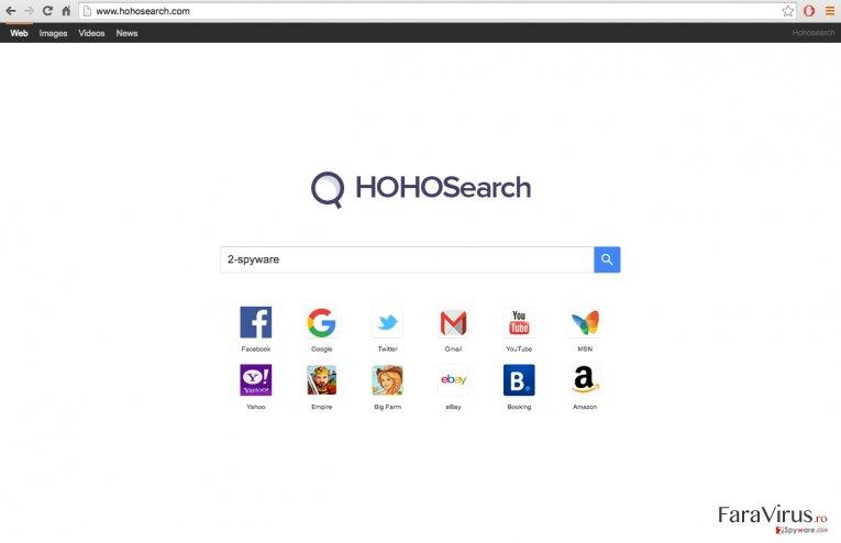 A screenshot of the Hoho Search virus website