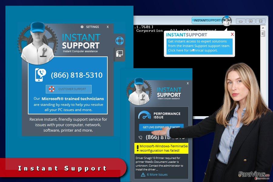 Reclamele Instant Support captură de ecran