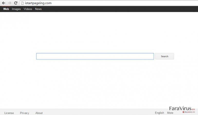 Istartpageing.com hijack captură de ecran