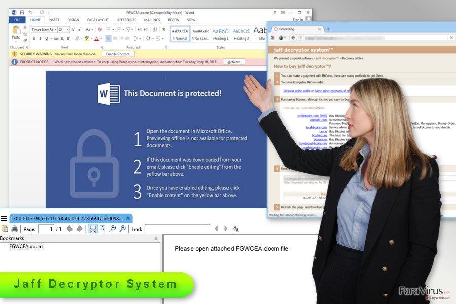 Ilustrarea virusului de tip ransomware Jaff